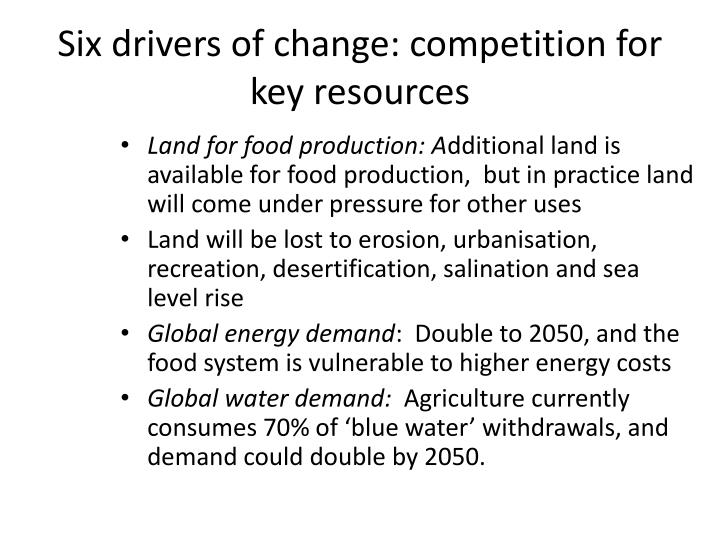 Six drivers of change: competition for key resources