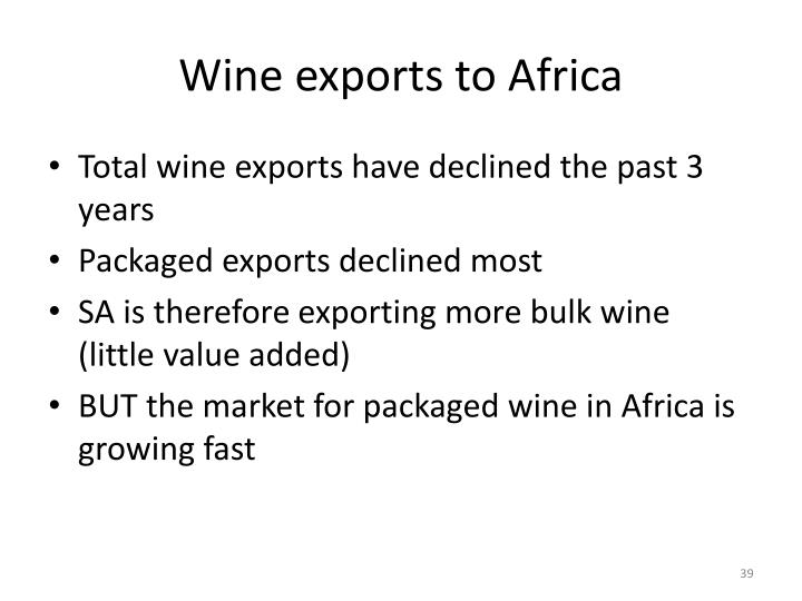 Wine exports to Africa