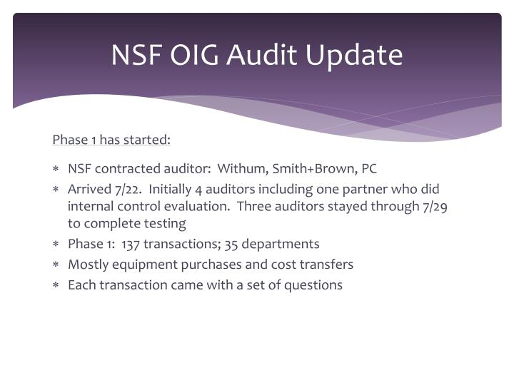 NSF OIG Audit Update