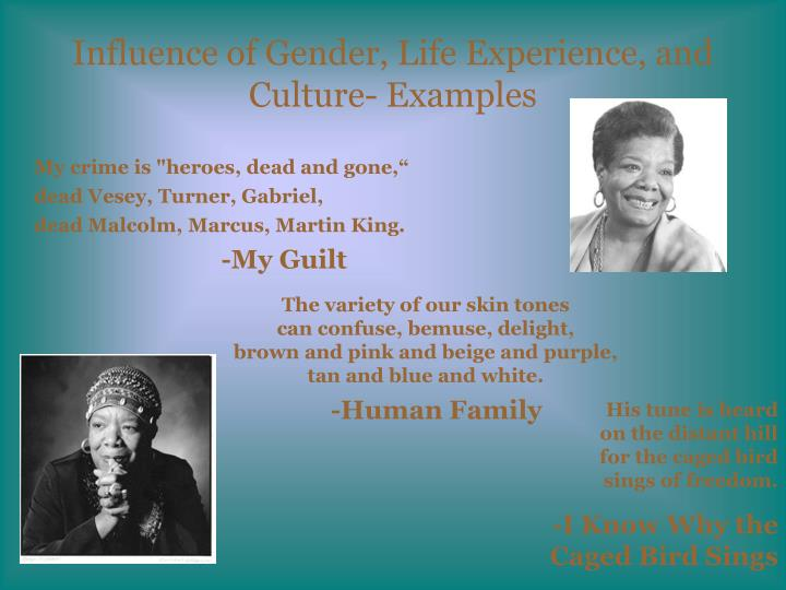 Influence of Gender, Life Experience, and Culture- Examples