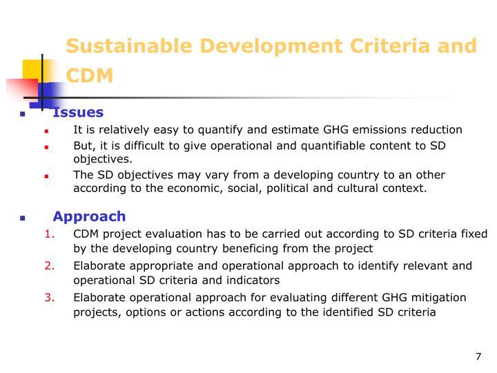 Sustainable Development Criteria and CDM