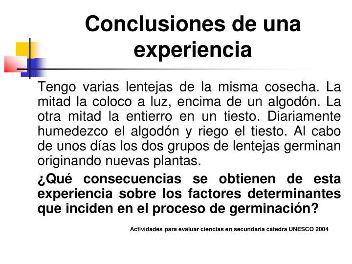 Conclusiones de una experiencia