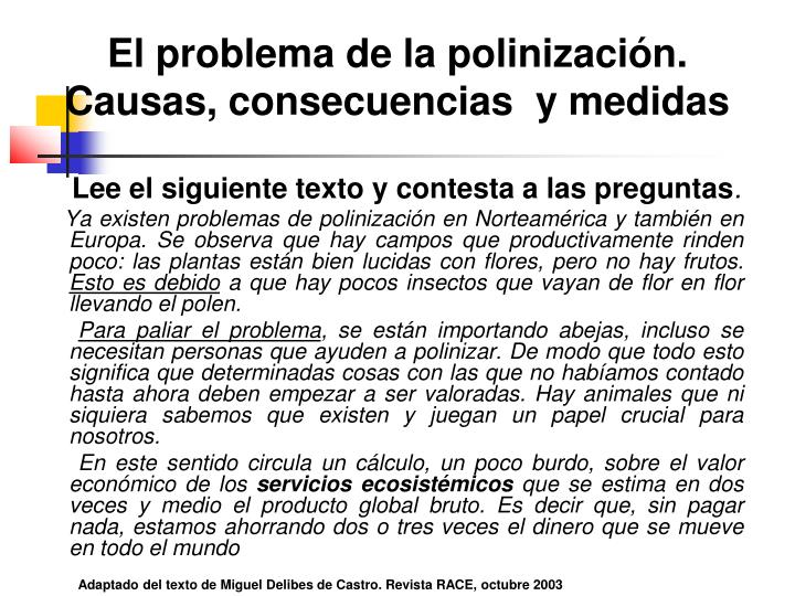 El problema de la polinización. Causas, consecuencias  y medidas
