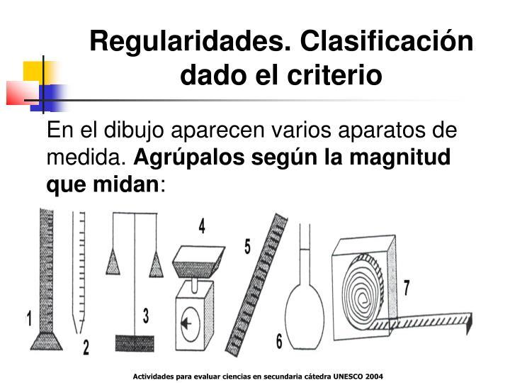 Regularidades. Clasificación dado el criterio