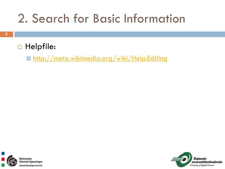 2. Search for Basic Information