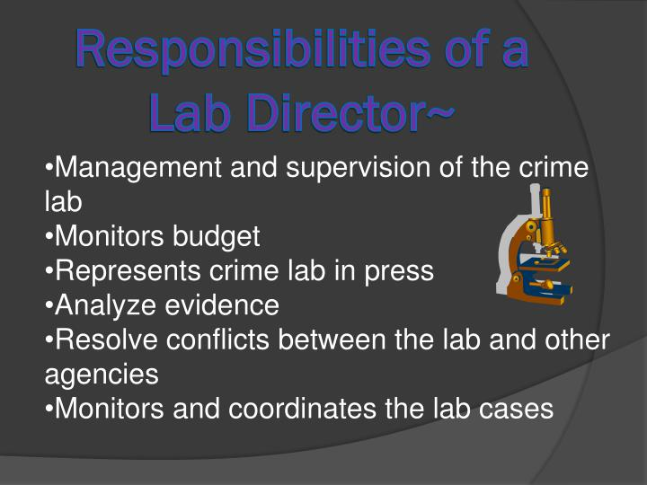 Responsibilities of a lab director