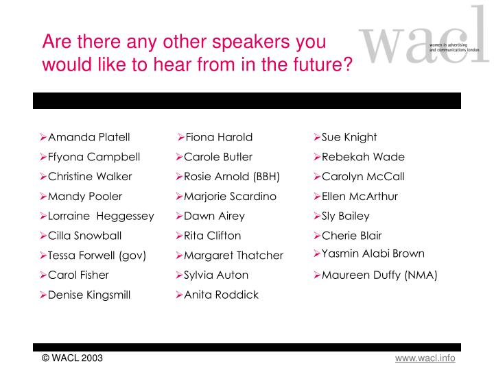 Are there any other speakers you would like to hear from in the future?