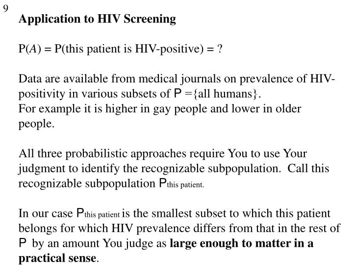 Application to HIV Screening