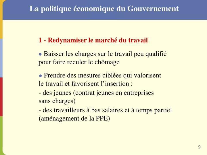 La politique économique du Gouvernement