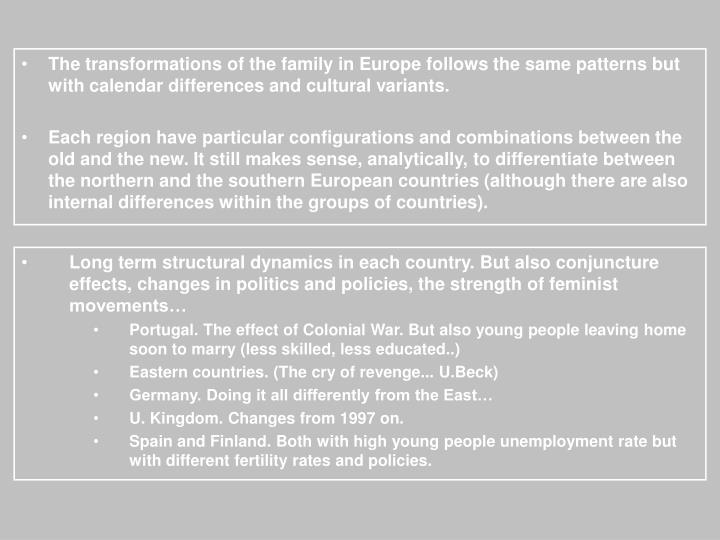 The transformations of the family in Europe follows the same patterns but with calendar differences and cultural variants.