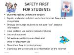 safety first for students