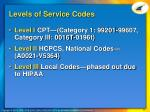 levels of service codes