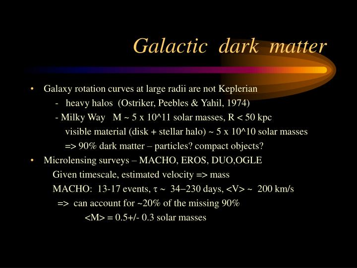 Galactic dark matter