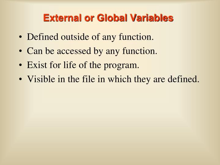 External or Global Variables