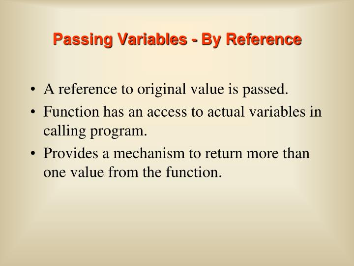 Passing Variables - By Reference
