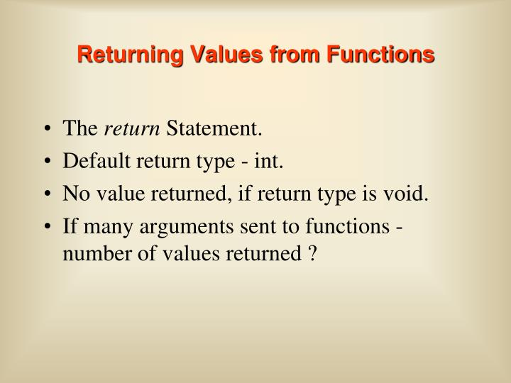 Returning Values from Functions
