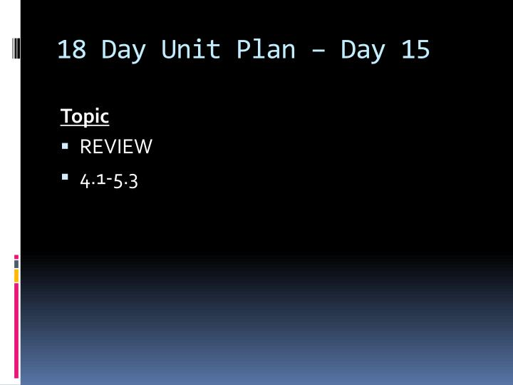 18 Day Unit Plan – Day 15