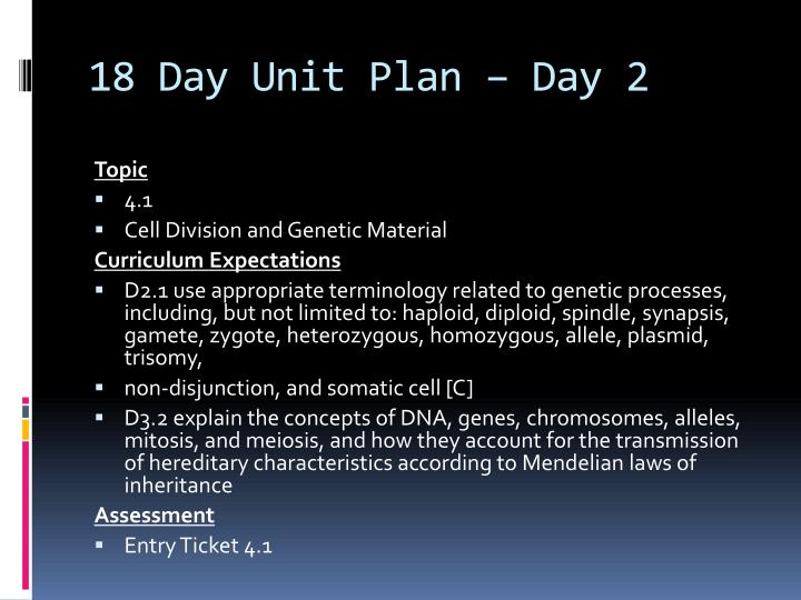 18 Day Unit Plan – Day 2