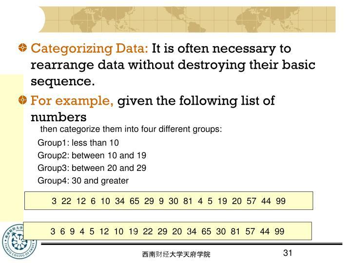 Categorizing Data:
