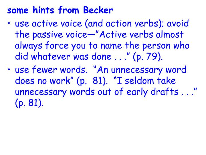some hints from Becker