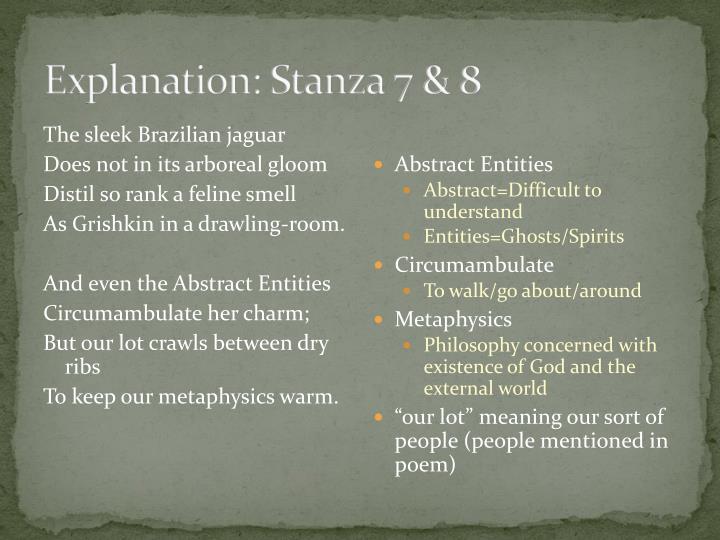 Explanation: Stanza 7 & 8