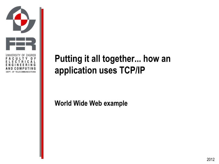 Putting it all together... how an application uses TCP/IP