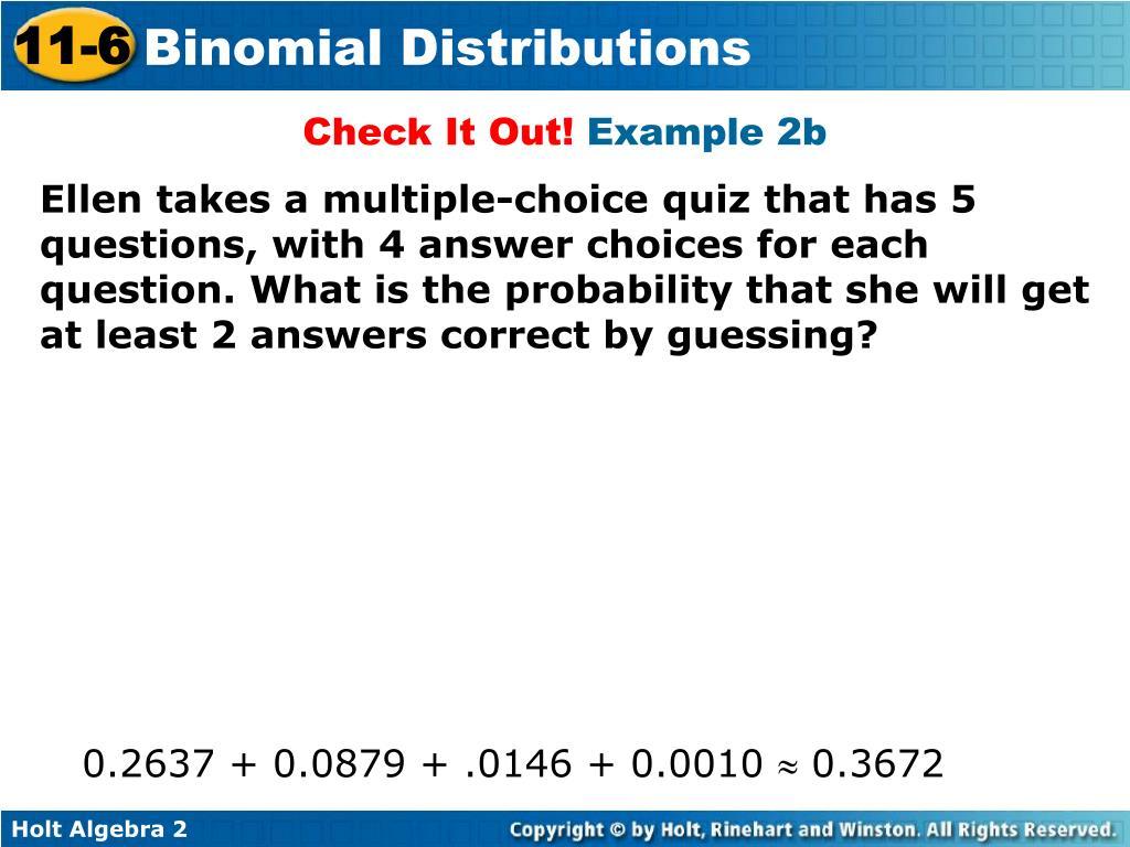 Algebra 2 Quiz Answers