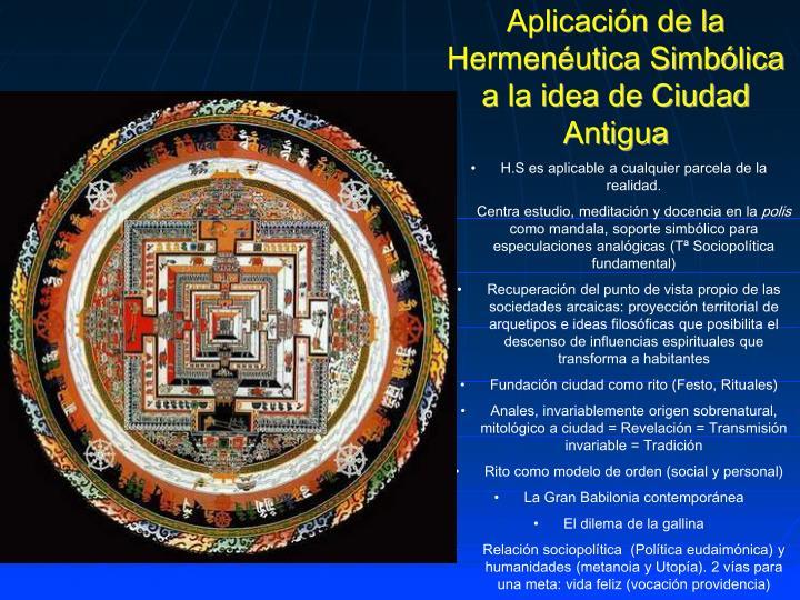 Aplicación de la Hermenéutica Simbólica a la idea de Ciudad Antigua