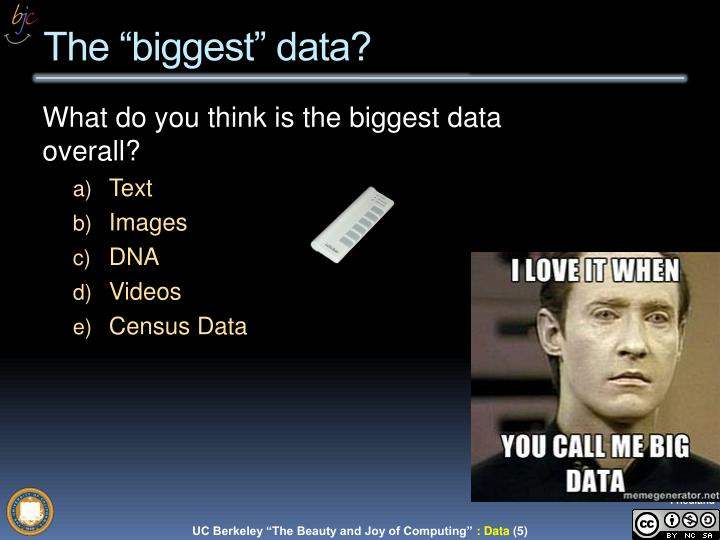 "The ""biggest"" data?"