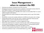 issue management when to contact th e rd