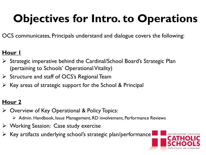 objectives for intro to operations