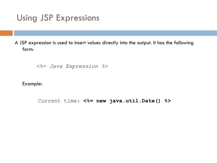 Using JSP Expressions