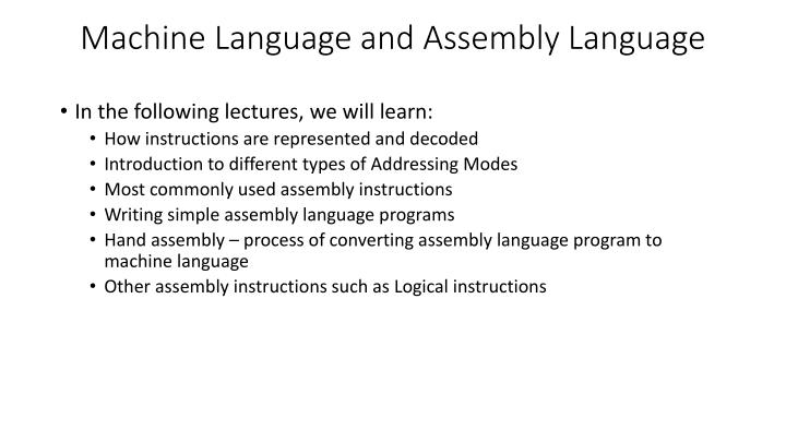 PPT - Machine Language and Assembly Language PowerPoint