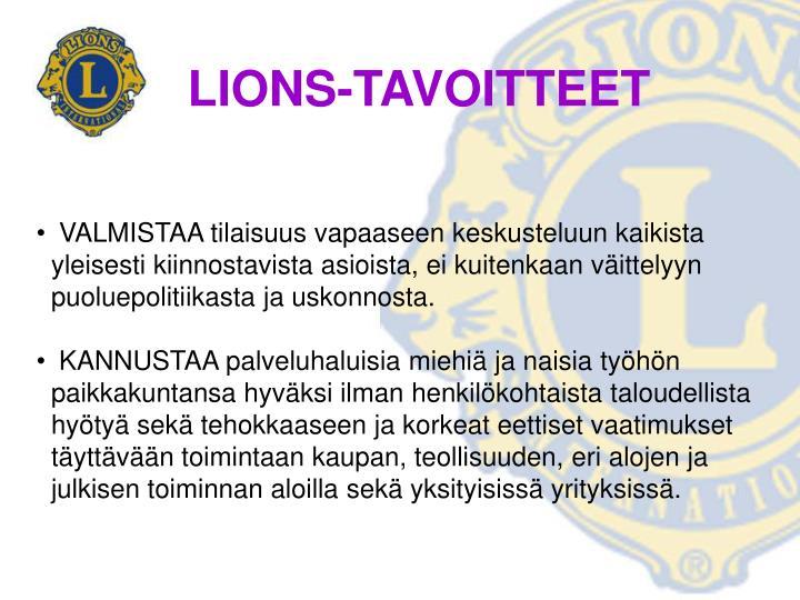 LIONS-TAVOITTEET