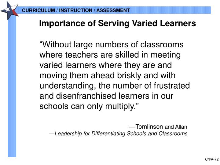 Importance of Serving Varied Learners