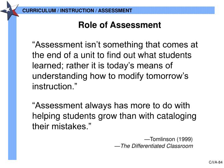 Role of Assessment