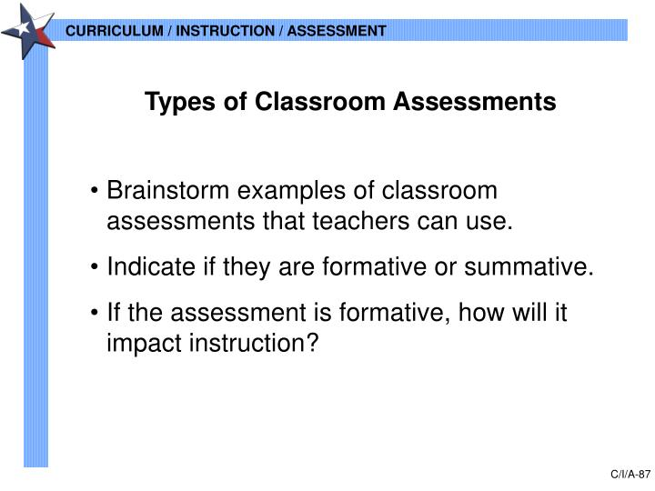 Types of Classroom Assessments