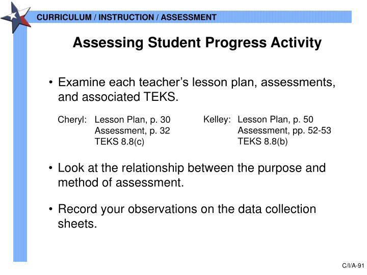 Assessing Student Progress Activity