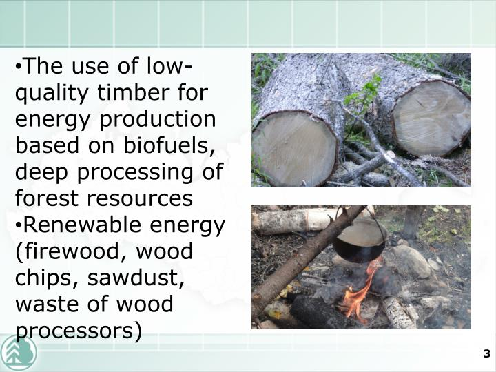 The use of low-quality timber for energy production based on biofuels, deep processing of forest res...