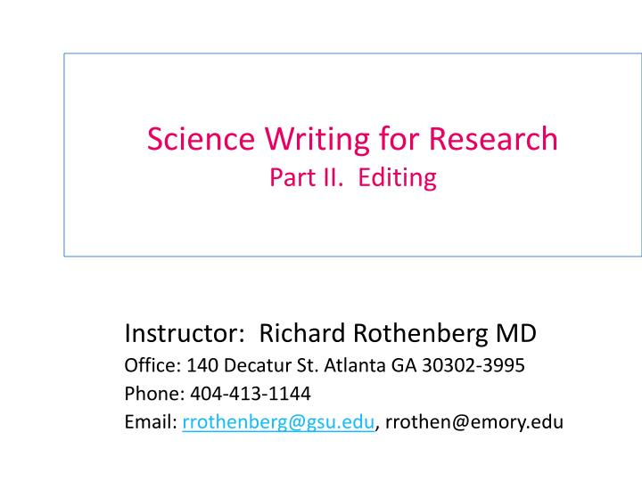 science writing for research part ii editing n.