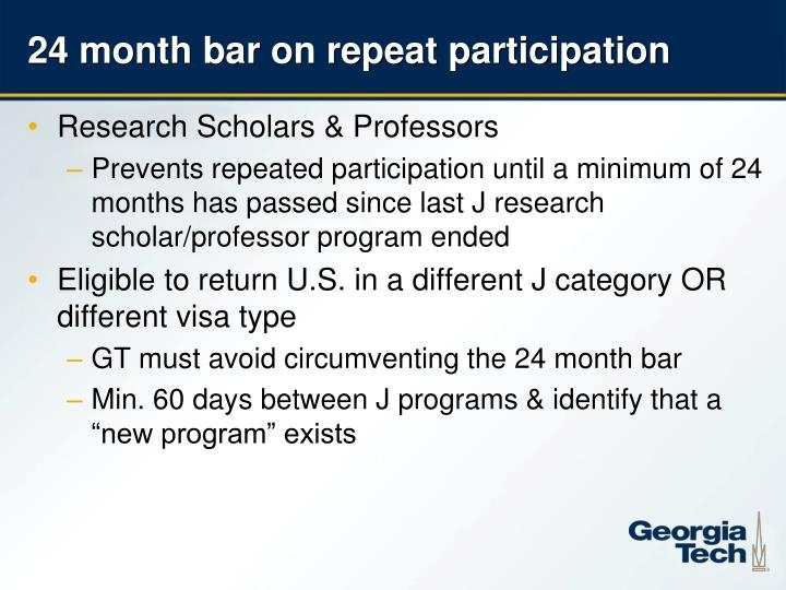 24 month bar on repeat participation