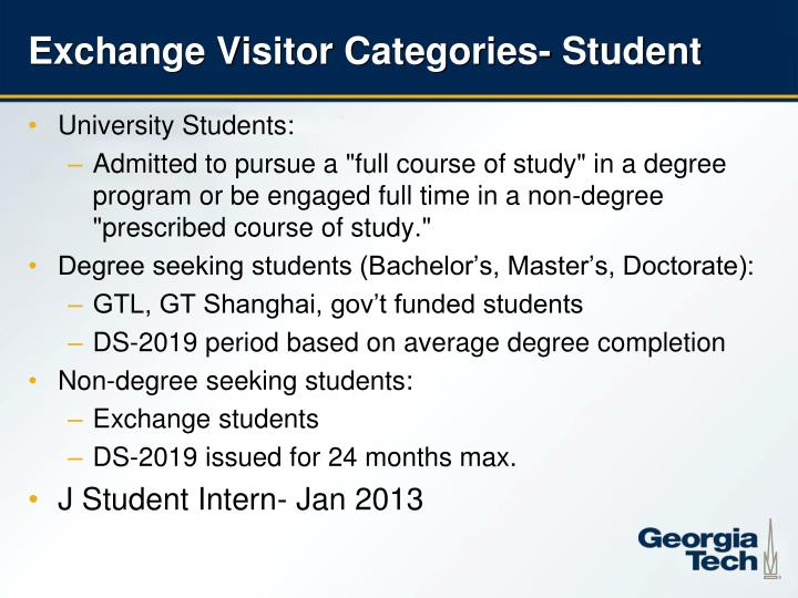 Exchange Visitor Categories- Student
