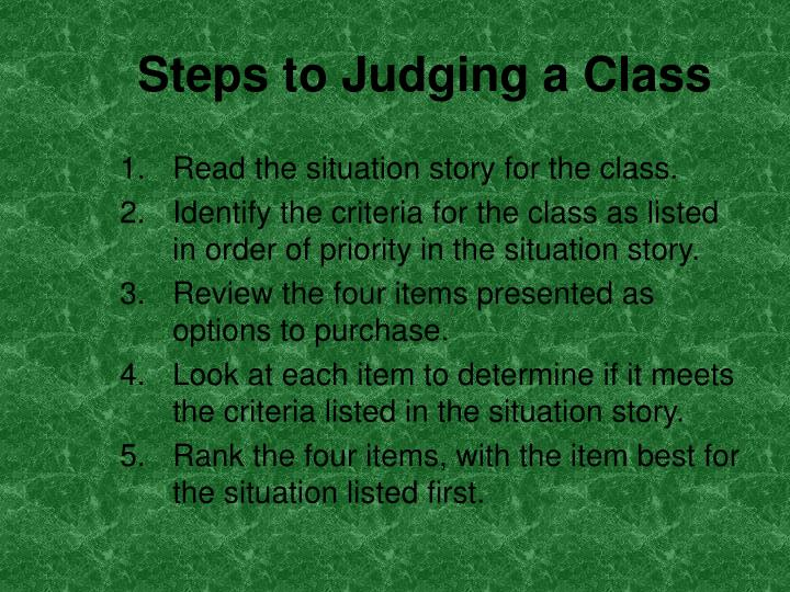 Steps to Judging a Class