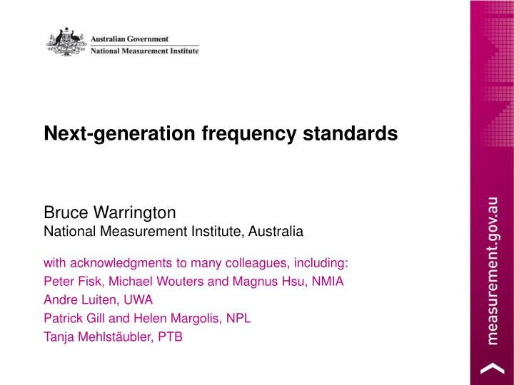 Next-generation frequency standards