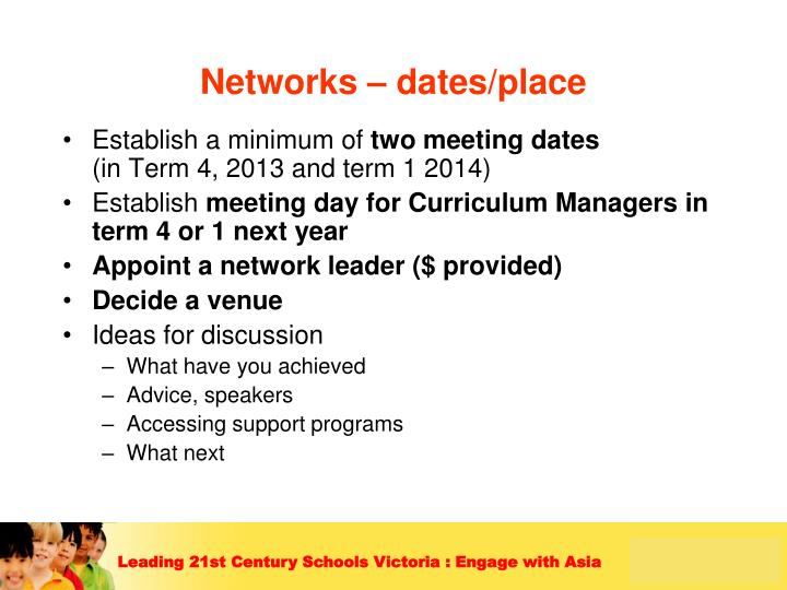 Networks – dates/place