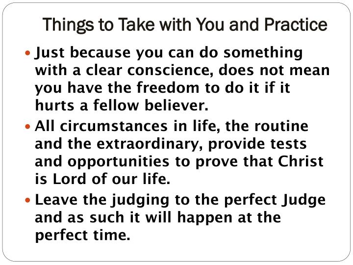 Things to Take with You and Practice