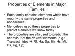 properties of elements in major families