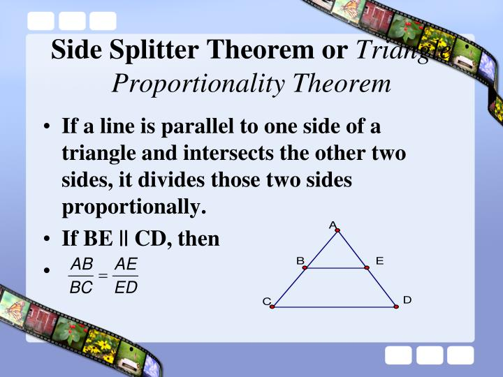 Side splitter theorem or triangle proportionality theorem