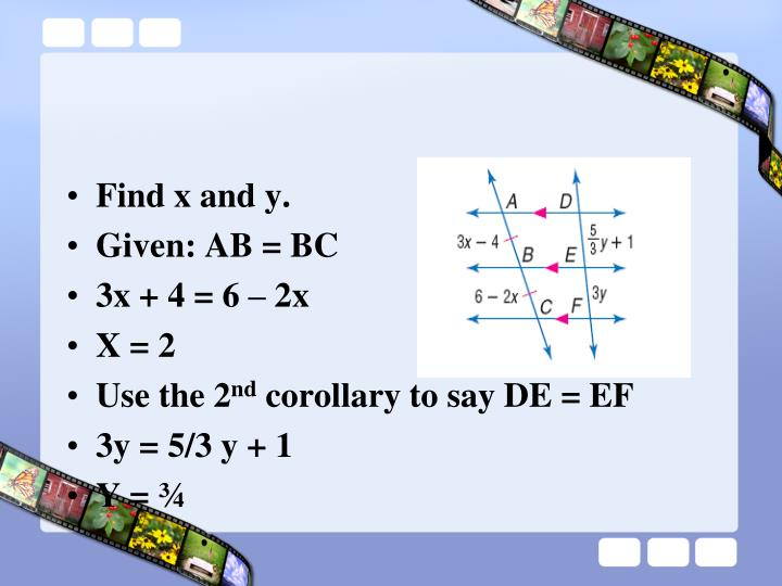 Find x and y.