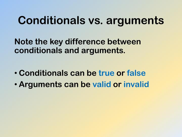 Conditionals vs. arguments
